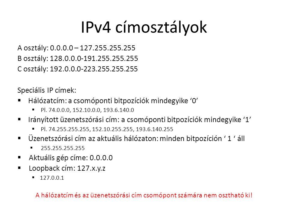 IPv4 címosztályok A osztály: 0.0.0.0 – 127.255.255.255 B osztály: 128.0.0.0-191.255.255.255 C osztály: 192.0.0.0-223.255.255.255 Speciális IP címek: 