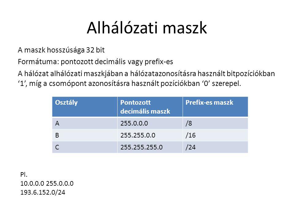 Alhálózati maszk A maszk hosszúsága 32 bit Formátuma: pontozott decimális vagy prefix-es A hálózat alhálózati maszkjában a hálózatazonosításra használ