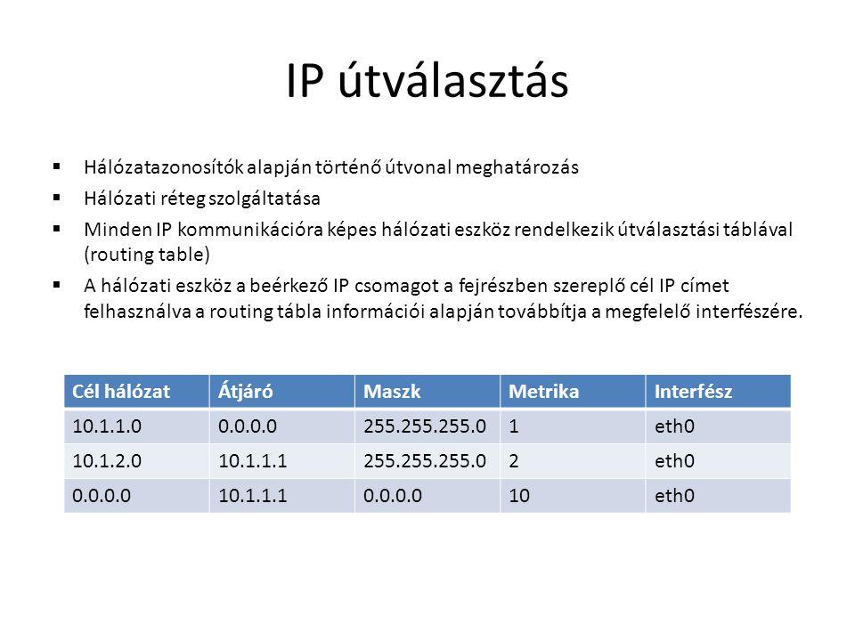 IP útválasztás  Hálózatazonosítók alapján történő útvonal meghatározás  Hálózati réteg szolgáltatása  Minden IP kommunikációra képes hálózati eszkö