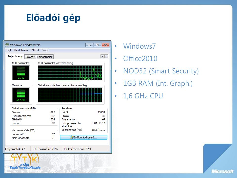 Előadói gép Windows7 Office2010 NOD32 (Smart Security) 1GB RAM (Int. Graph.) 1,6 GHz CPU