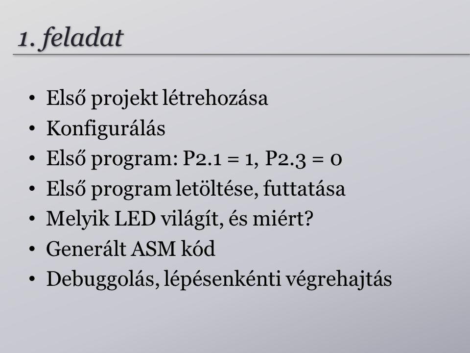 1. feladat Első projekt létrehozása Konfigurálás Első program: P2.1 = 1, P2.3 = 0 Első program letöltése, futtatása Melyik LED világít, és miért? Gene