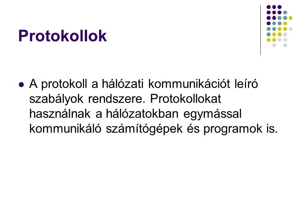 Protokollok A protokoll a hálózati kommunikációt leíró szabályok rendszere. Protokollokat használnak a hálózatokban egymással kommunikáló számítógépek