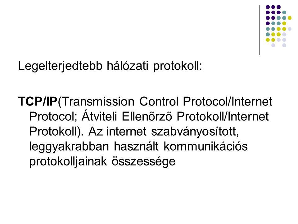 Legelterjedtebb hálózati protokoll: TCP/IP(Transmission Control Protocol/Internet Protocol; Átviteli Ellenőrző Protokoll/Internet Protokoll). Az inter