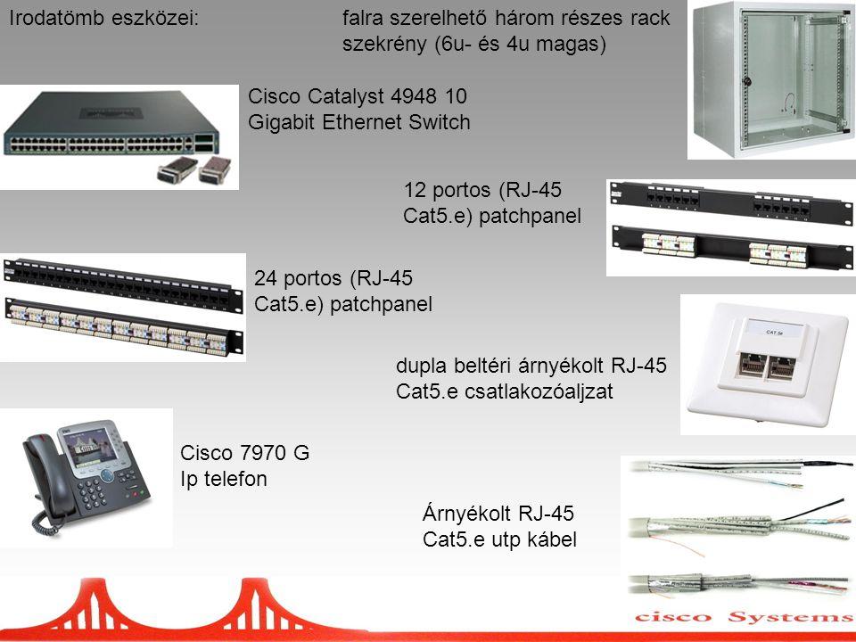 Irodatömb eszközei:falra szerelhető három részes rack szekrény (6u- és 4u magas) Cisco Catalyst 4948 10 Gigabit Ethernet Switch 12 portos (RJ-45 Cat5.