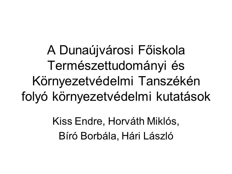 A Dunaújvárosi Főiskola Természettudományi és Környezetvédelmi Tanszékén folyó környezetvédelmi kutatások Kiss Endre, Horváth Miklós, Bíró Borbála, Há
