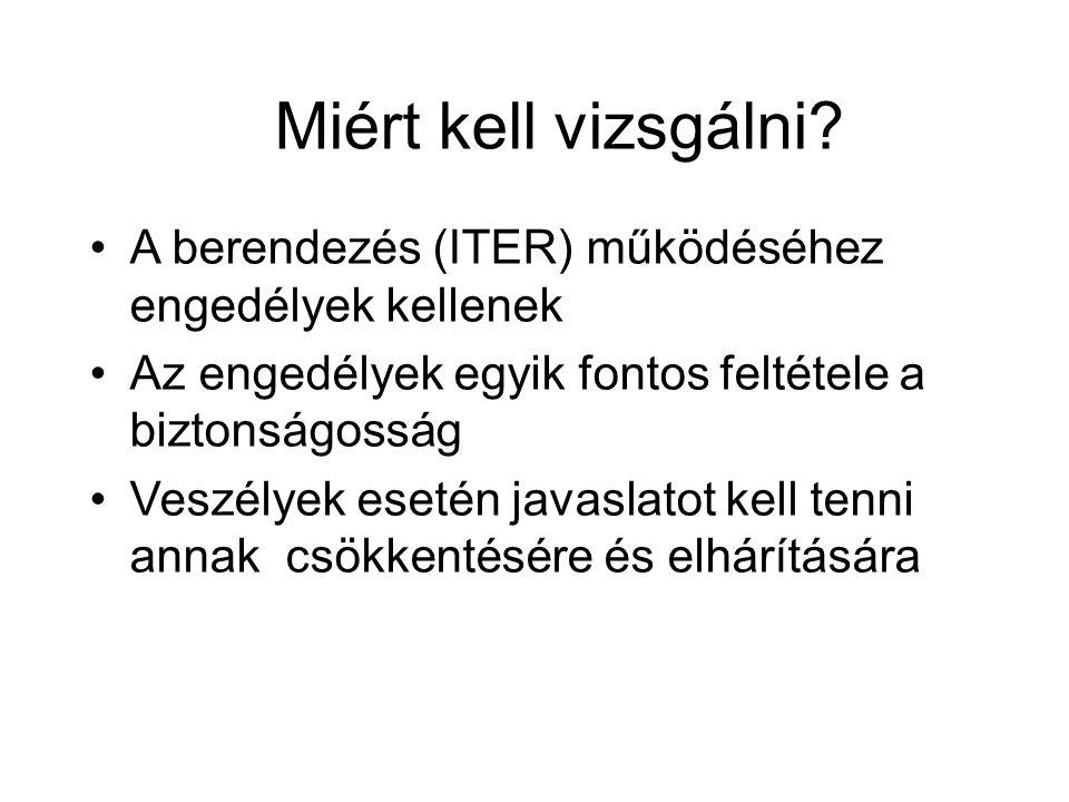 Miért kell vizsgálni? A berendezés (ITER) működéséhez engedélyek kellenek Az engedélyek egyik fontos feltétele a biztonságosság Veszélyek esetén javas