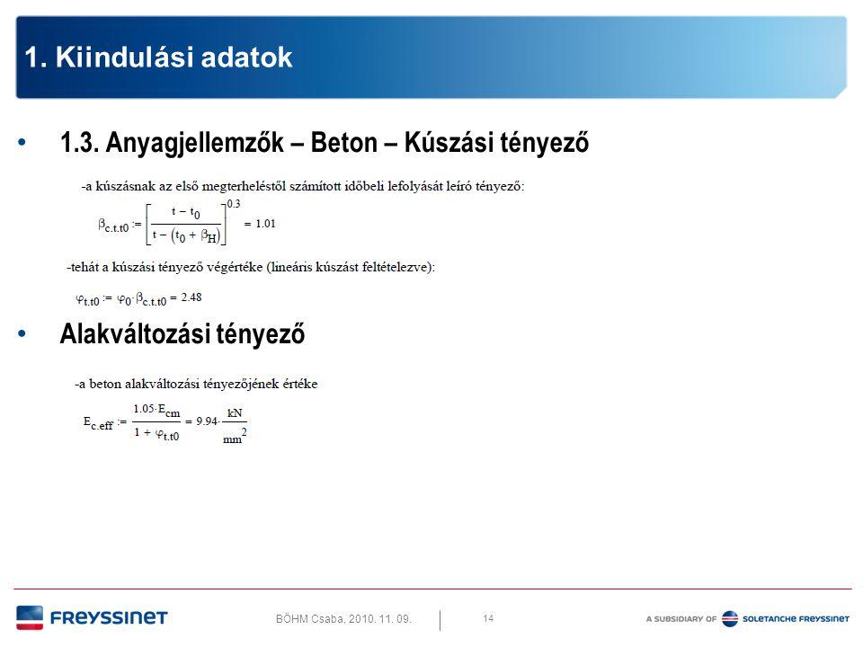 BÖHM Csaba, 2010. 11. 09. 15 1. Kiindulási adatok 1.3. Anyagjellemzők – Beton – Zsugorodás