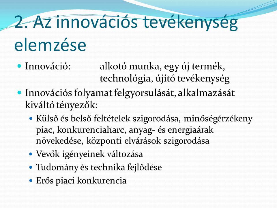 2. Az innovációs tevékenység elemzése Innováció:alkotó munka, egy új termék, technológia, újító tevékenység Innovációs folyamat felgyorsulását, alkalm