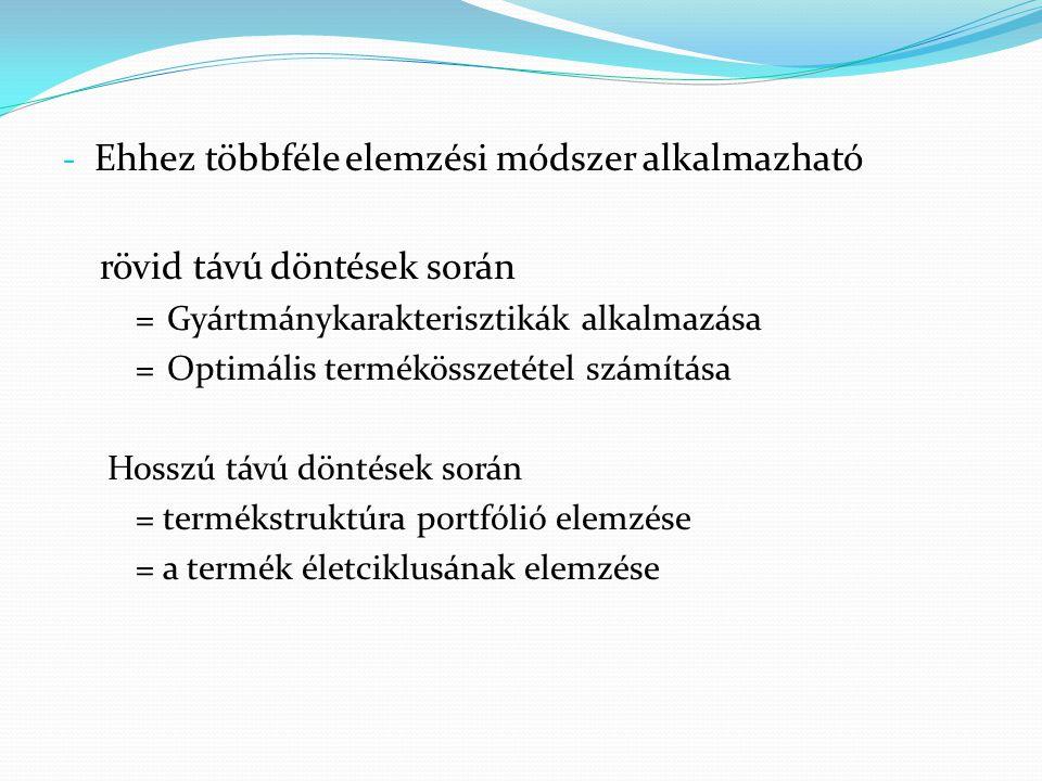 - Ehhez többféle elemzési módszer alkalmazható rövid távú döntések során =Gyártmánykarakterisztikák alkalmazása =Optimális termékösszetétel számítása