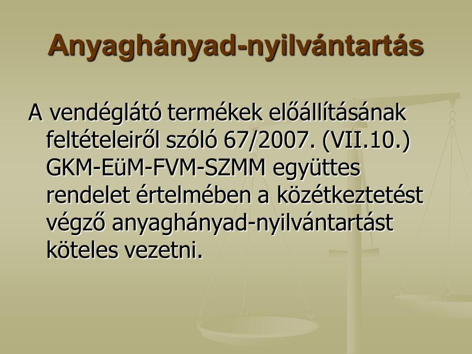 Anyaghányad-nyilvántartás A vendéglátó termékek előállításának feltételeiről szóló 67/2007. (VII.10.) GKM-EüM-FVM-SZMM együttes rendelet értelmében a
