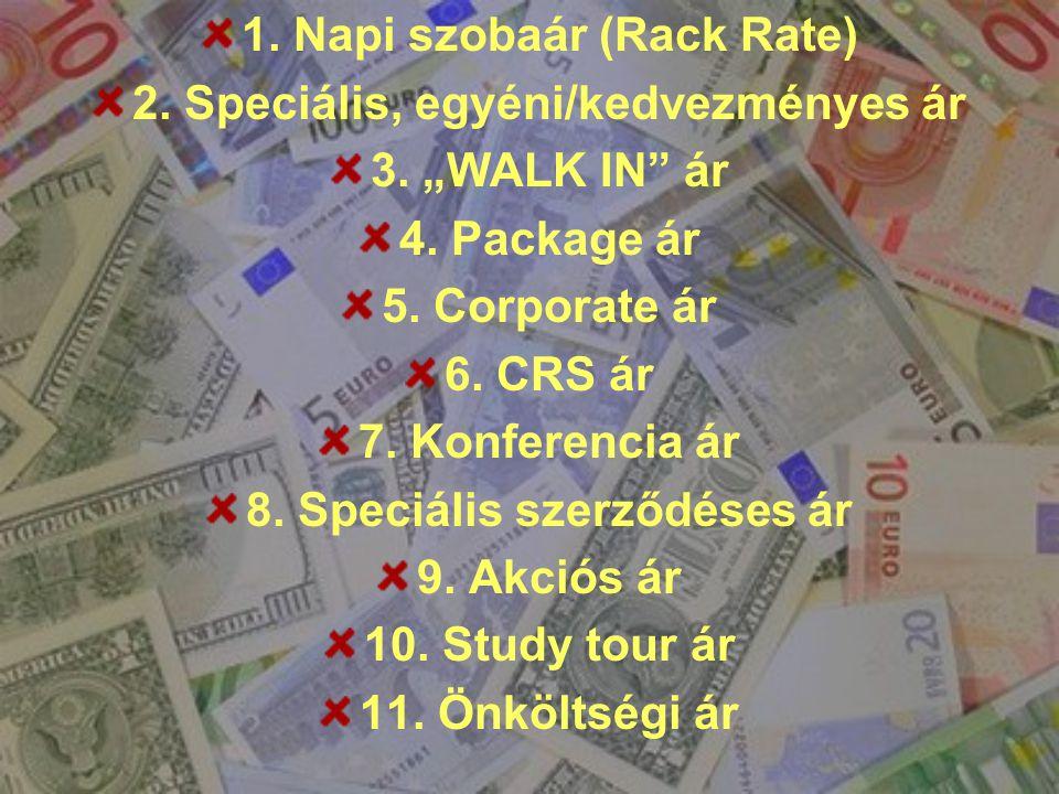 "1. Napi szobaár (Rack Rate) 2. Speciális, egyéni/kedvezményes ár 3. ""WALK IN"" ár 4. Package ár 5. Corporate ár 6. CRS ár 7. Konferencia ár 8. Speciáli"