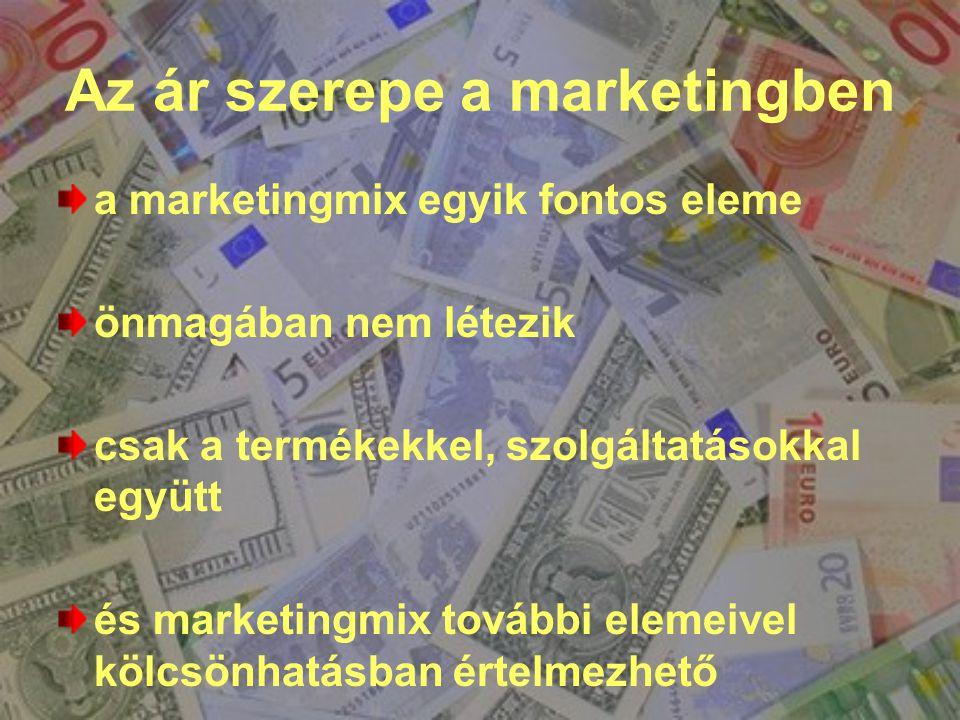 Az ár szerepe a marketingben a marketingmix egyik fontos eleme önmagában nem létezik csak a termékekkel, szolgáltatásokkal együtt és marketingmix tová