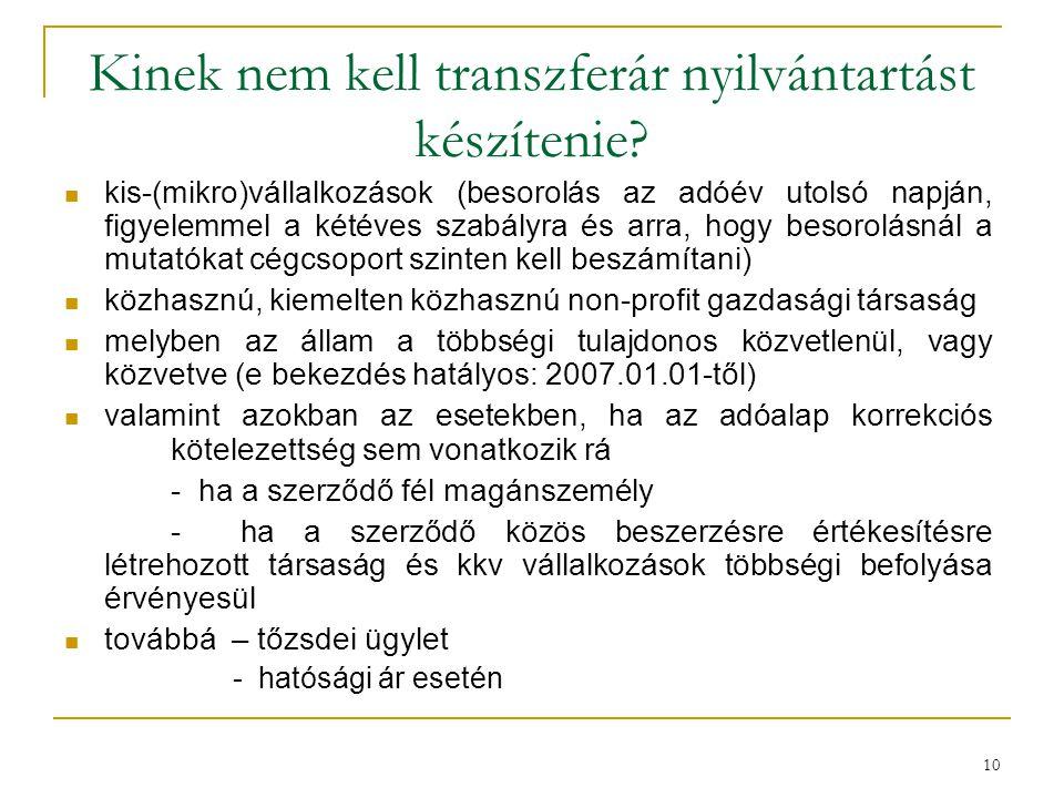 Kinek nem kell transzferár nyilvántartást készítenie? kis-(mikro)vállalkozások (besorolás az adóév utolsó napján, figyelemmel a kétéves szabályra és a