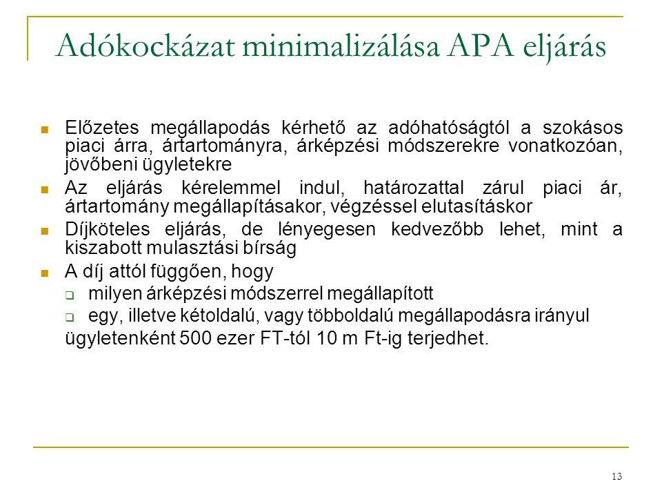 Adókockázat minimalizálása APA eljárás Előzetes megállapodás kérhető az adóhatóságtól a szokásos piaci árra, ártartományra, árképzési módszerekre vona