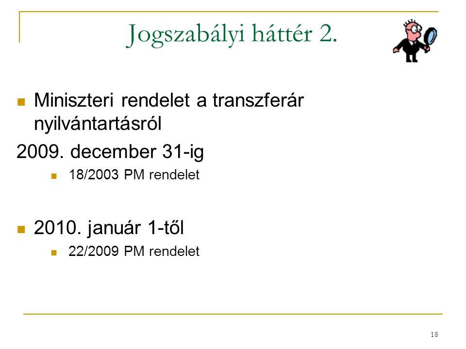 Jogszabályi háttér 2. Miniszteri rendelet a transzferár nyilvántartásról 2009. december 31-ig 18/2003 PM rendelet 2010. január 1-től 22/2009 PM rendel