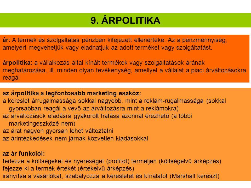 9. ÁRPOLITIKA ár: A termék és szolgáltatás pénzben kifejezett ellenértéke. Az a pénzmennyiség, amelyért megvehetjük vagy eladhatjuk az adott terméket