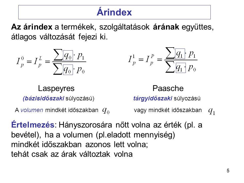 6 Volumen-index (Változatlan áras index) Laspeyres Paasche (bázisidőszaki súlyozású) (tárgyidőszaki súlyozású) Hányszorosára nőtt volna az érték (pl.