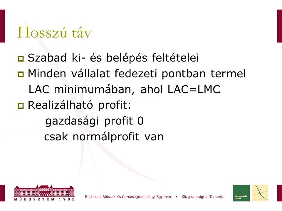 Hosszú táv  Szabad ki- és belépés feltételei  Minden vállalat fedezeti pontban termel LAC minimumában, ahol LAC=LMC  Realizálható profit: gazdasági