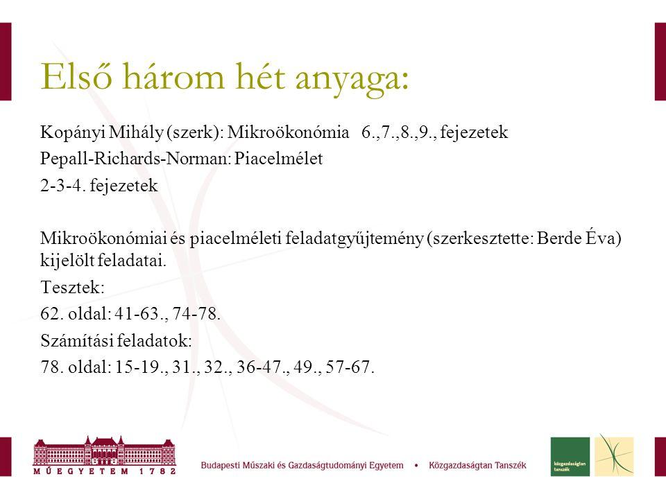 Első három hét anyaga: Kopányi Mihály (szerk): Mikroökonómia 6.,7.,8.,9., fejezetek Pepall-Richards-Norman: Piacelmélet 2-3-4. fejezetek Mikroökonómia