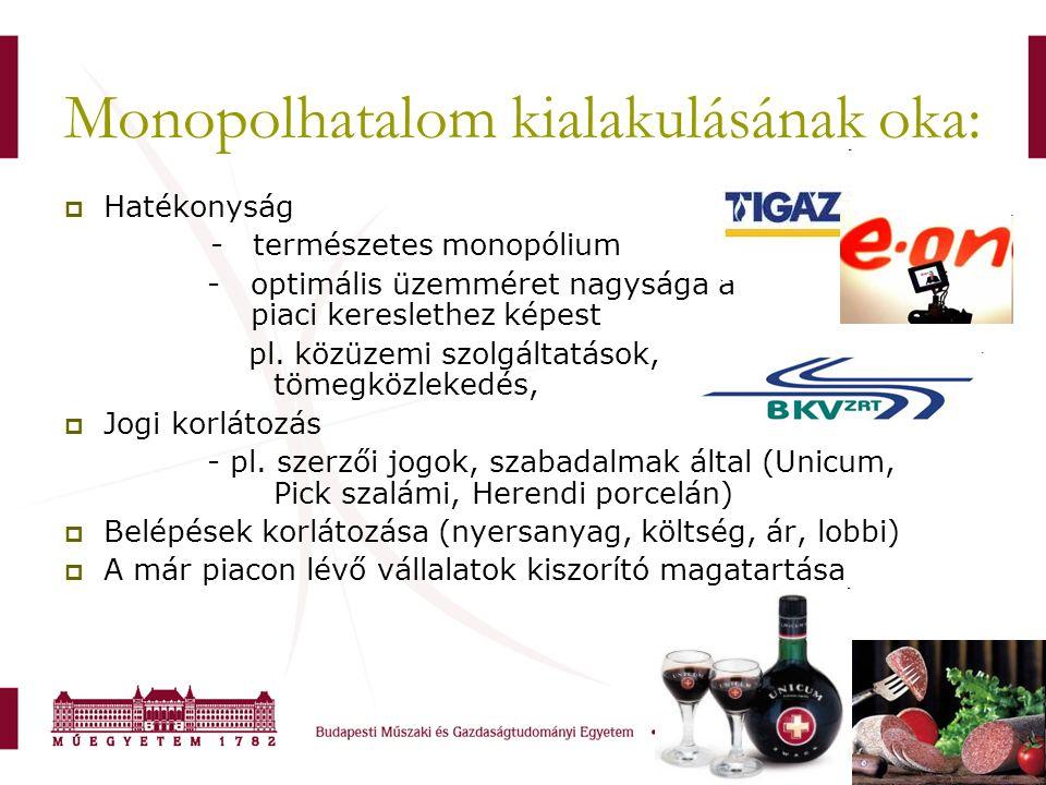 Monopolhatalom kialakulásának oka:  Hatékonyság - természetes monopólium - optimális üzemméret nagysága a piaci kereslethez képest pl. közüzemi szolg