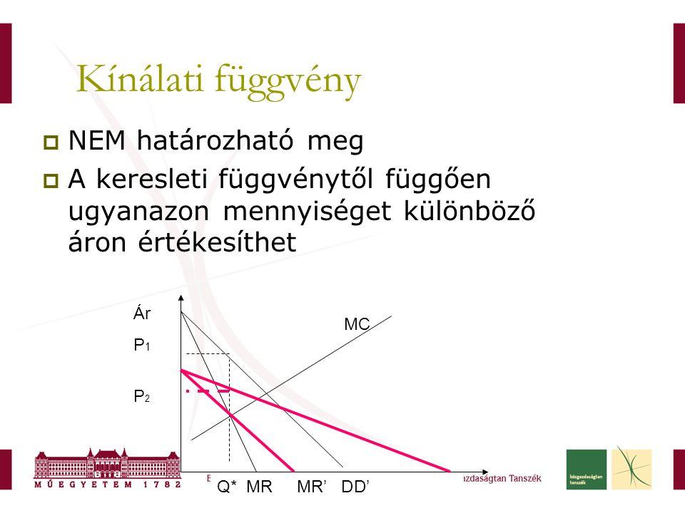 Q* MR MR' DD' Kínálati függvény  NEM határozható meg  A keresleti függvénytől függően ugyanazon mennyiséget különböző áron értékesíthet Ár P 1 P 2 M