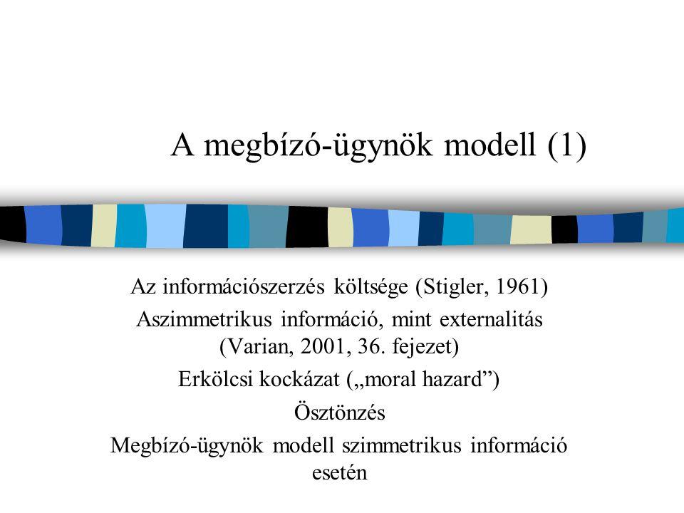 A megbízó-ügynök modell (1) Az információszerzés költsége (Stigler, 1961) Aszimmetrikus információ, mint externalitás (Varian, 2001, 36.