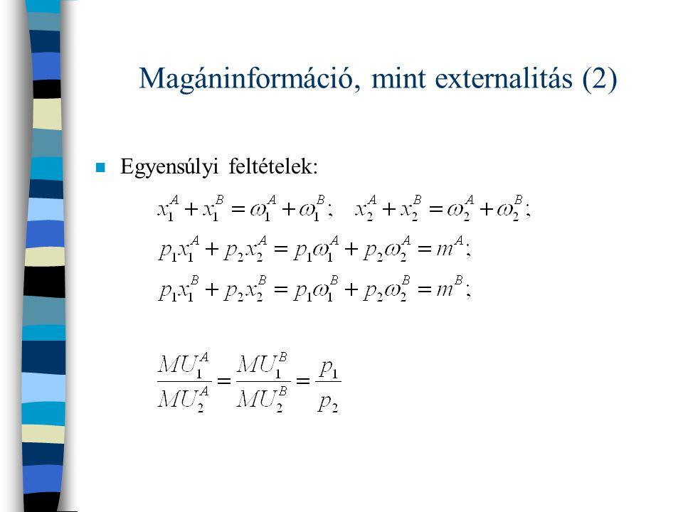Magáninformáció, mint externalitás (2) n Egyensúlyi feltételek: