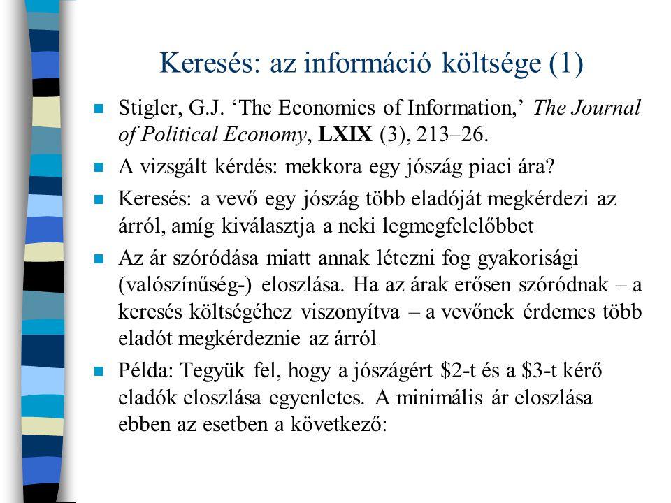 Keresés: az információ költsége (2) n A minimális ár eloszlása az árajánlatok számának függvényében