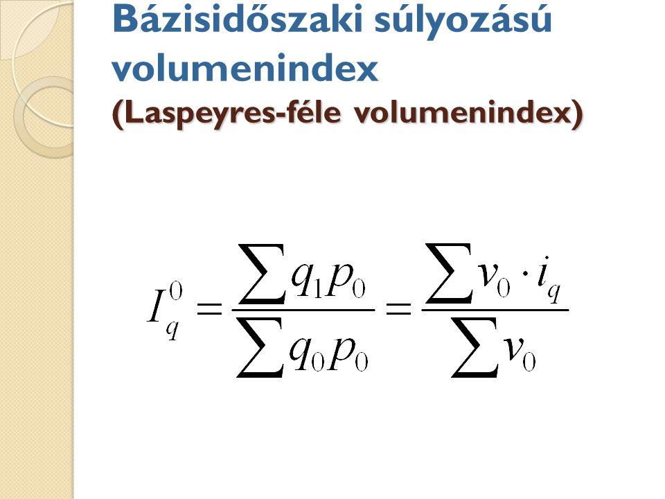 (Laspeyres-féle volumenindex) Bázisidőszaki súlyozású volumenindex (Laspeyres-féle volumenindex)