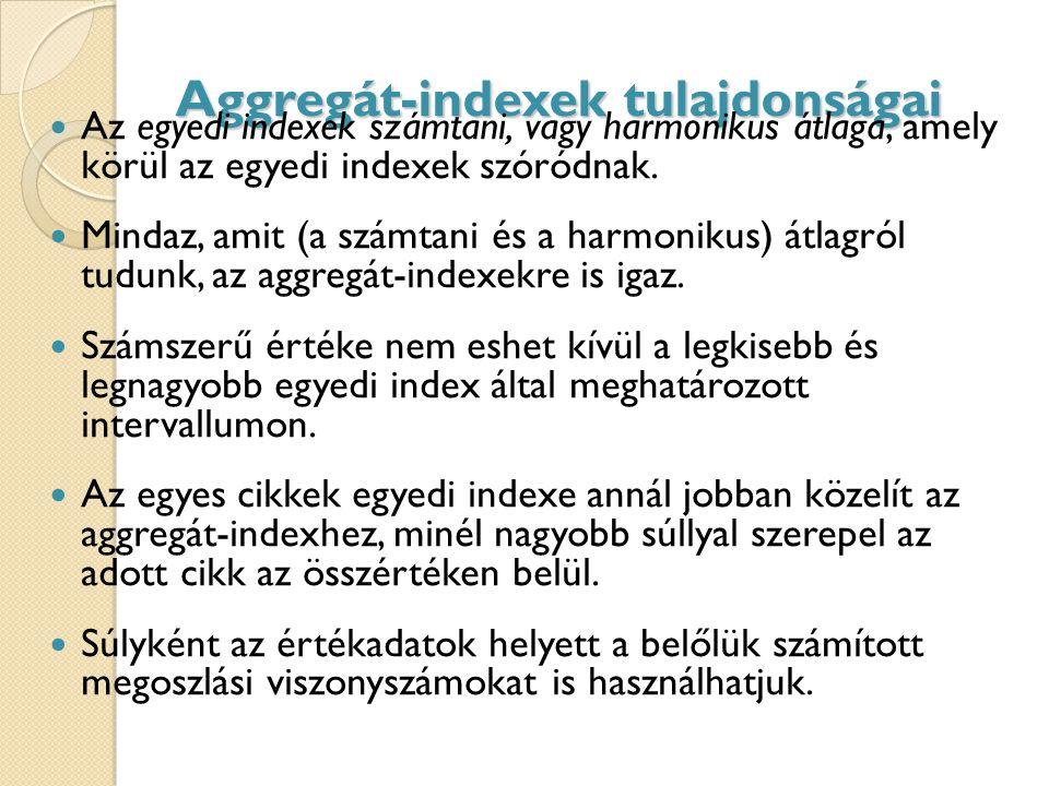 Aggregát-indexek tulajdonságai Az egyedi indexek számtani, vagy harmonikus átlaga, amely körül az egyedi indexek szóródnak.