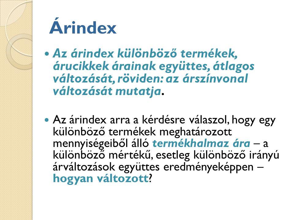 Árindex Az árindex különböző termékek, árucikkek árainak együttes, átlagos változását, röviden: az árszínvonal változását mutatja.