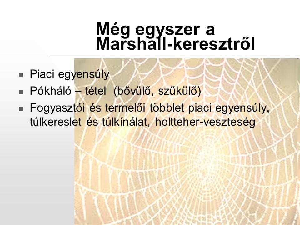 Még egyszer a Marshall-keresztről Piaci egyensúly Pókháló – tétel (bővülő, szűkülő) Fogyasztói és termelői többlet piaci egyensúly, túlkereslet és túl