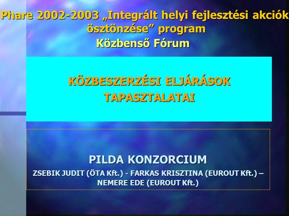"""KÖZBESZERZÉSI ELJÁRÁSOK TAPASZTALATAI PILDA KONZORCIUM ZSEBIK JUDIT (ÖTA Kft.) - FARKAS KRISZTINA (EUROUT Kft.) – NEMERE EDE (EUROUT Kft.) Phare 2002-2003 """"Integrált helyi fejlesztési akciók ösztönzése program ösztönzése program Közbenső Fórum"""
