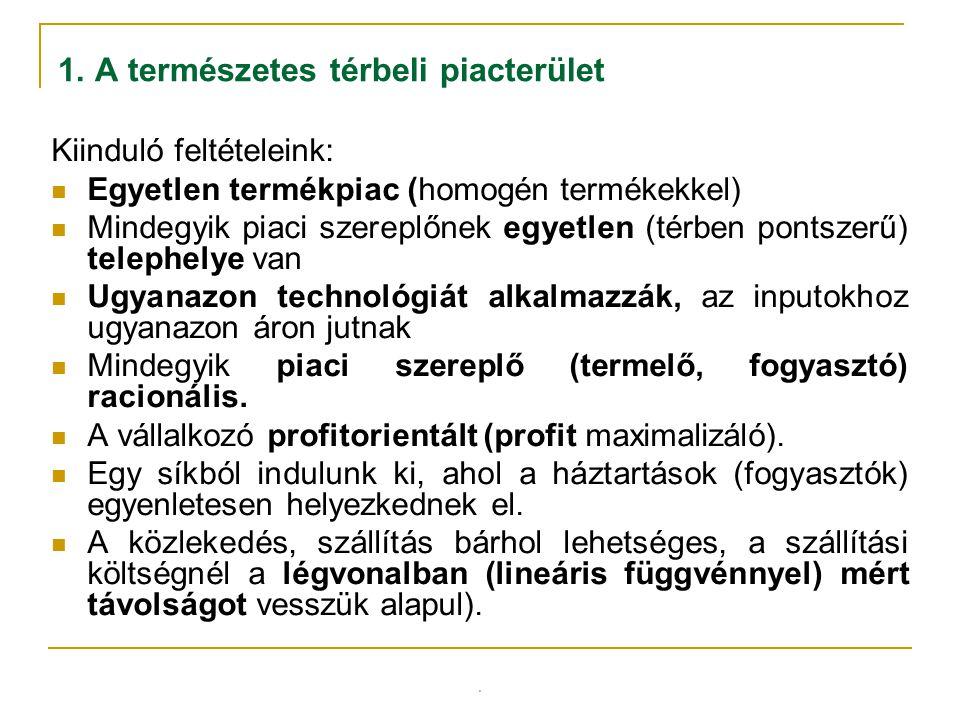 . 1. A természetes térbeli piacterület Kiinduló feltételeink: Egyetlen termékpiac (homogén termékekkel) Mindegyik piaci szereplőnek egyetlen (térben p