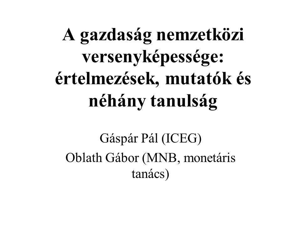 A gazdaság nemzetközi versenyképessége: értelmezések, mutatók és néhány tanulság Gáspár Pál (ICEG) Oblath Gábor (MNB, monetáris tanács)