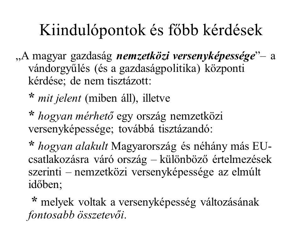 """Kiindulópontok és főbb kérdések """"A magyar gazdaság nemzetközi versenyképessége – a vándorgyűlés (és a gazdaságpolitika) központi kérdése; de nem tisztázott: * mit jelent (miben áll), illetve * hogyan mérhető egy ország nemzetközi versenyképessége; továbbá tisztázandó: * hogyan alakult Magyarország és néhány más EU- csatlakozásra váró ország – különböző értelmezések szerinti – nemzetközi versenyképessége az elmúlt időben; * melyek voltak a versenyképesség változásának fontosabb összetevői."""