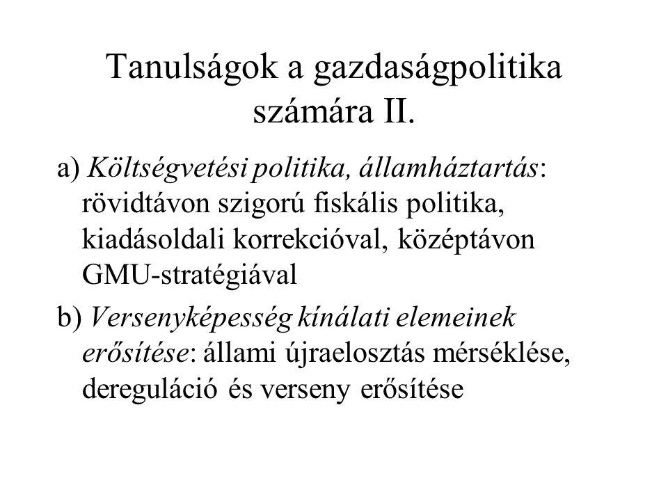 Tanulságok a gazdaságpolitika számára II.