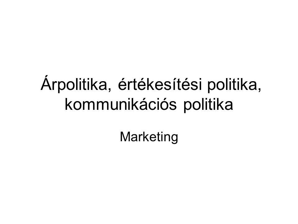 Árpolitika, értékesítési politika, kommunikációs politika Marketing