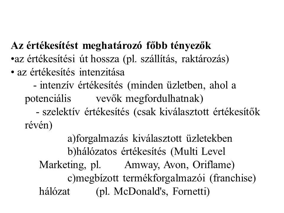 Az értékesítést meghatározó főbb tényezők az értékesítési út hossza (pl.