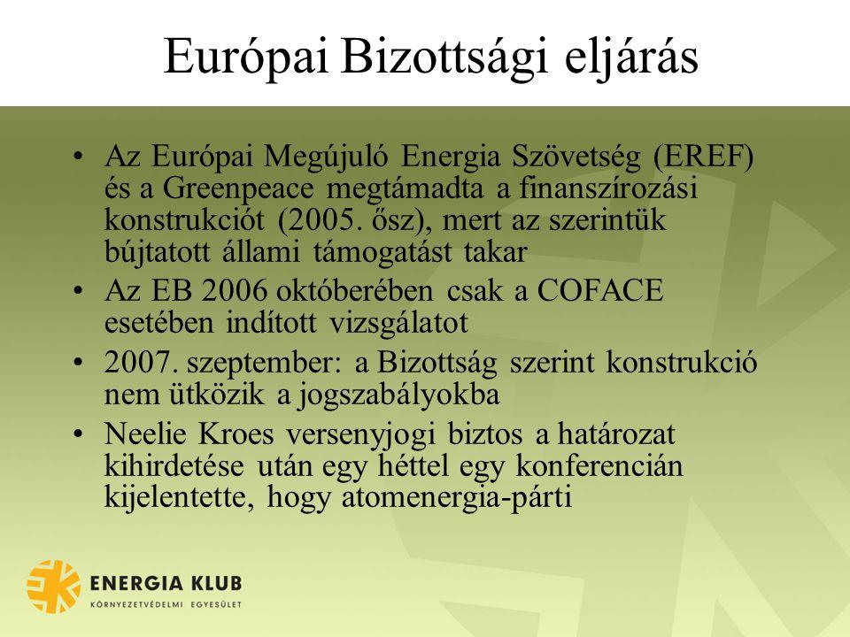 Európai Bizottsági eljárás Az Európai Megújuló Energia Szövetség (EREF) és a Greenpeace megtámadta a finanszírozási konstrukciót (2005. ősz), mert az