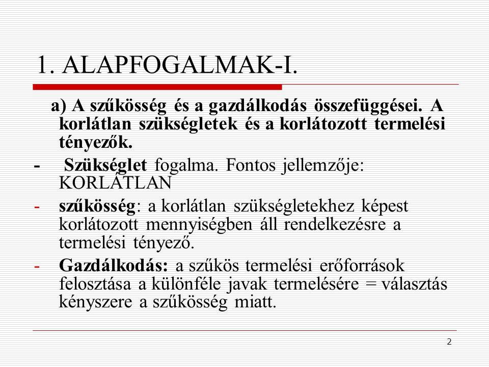 2 1. ALAPFOGALMAK-I. a) A szűkösség és a gazdálkodás összefüggései. A korlátlan szükségletek és a korlátozott termelési tényezők. - Szükséglet fogalma