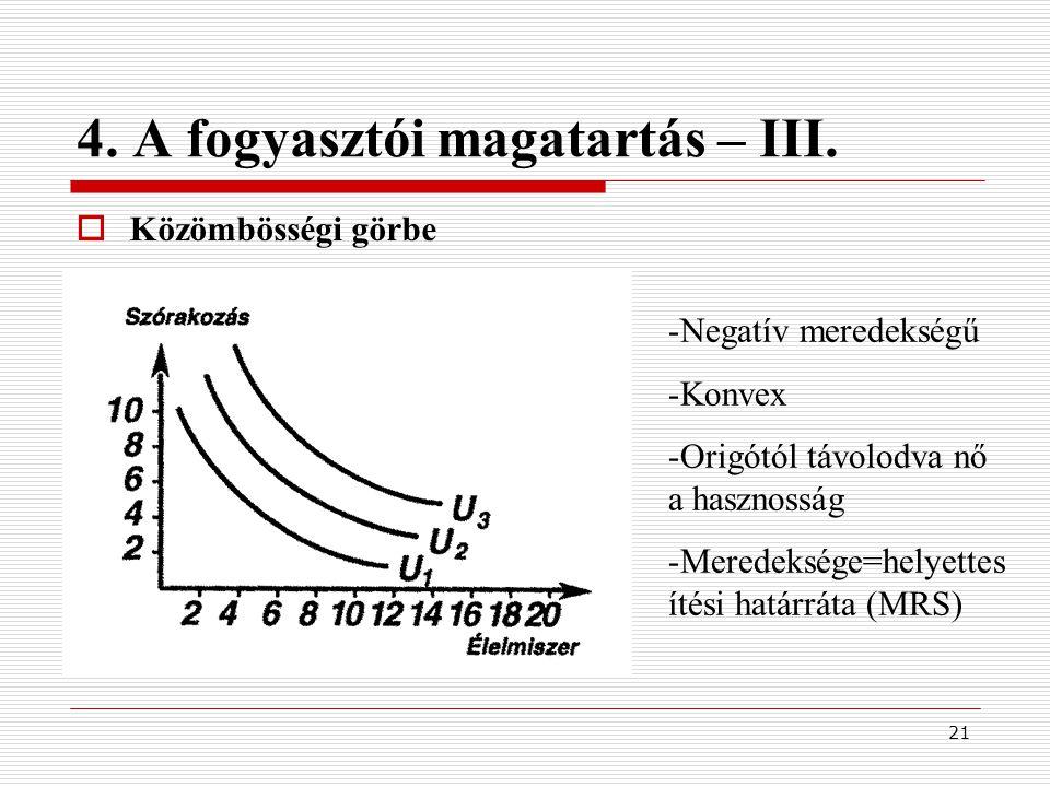 21 4. A fogyasztói magatartás – III.  Közömbösségi görbe -Negatív meredekségű -Konvex -Origótól távolodva nő a hasznosság -Meredeksége=helyettes ítés