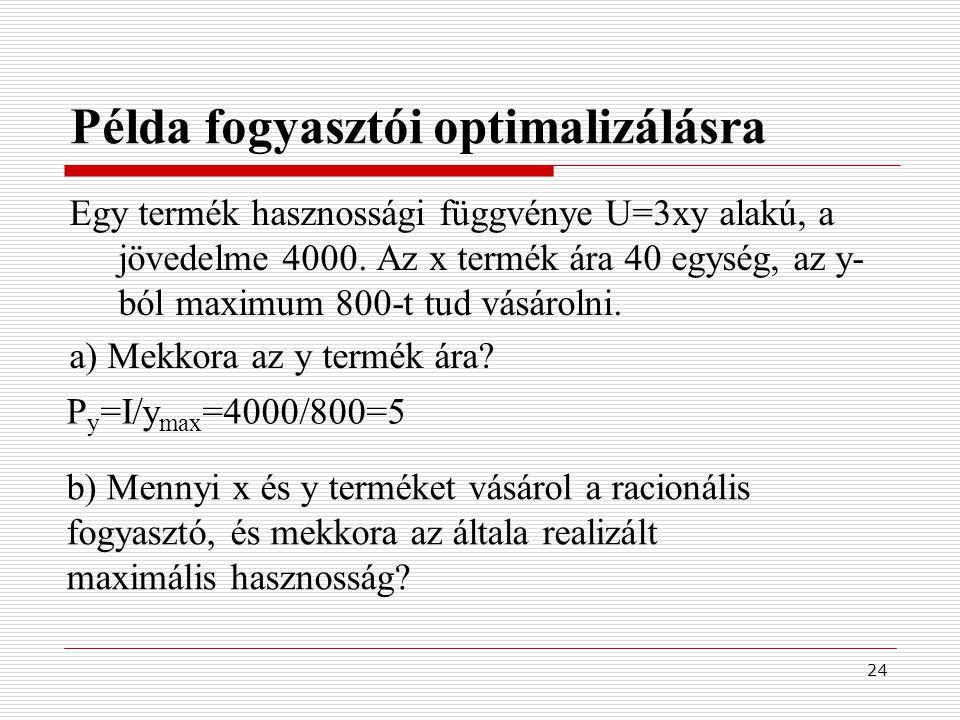 24 Példa fogyasztói optimalizálásra Egy termék hasznossági függvénye U=3xy alakú, a jövedelme 4000. Az x termék ára 40 egység, az y- ból maximum 800-t