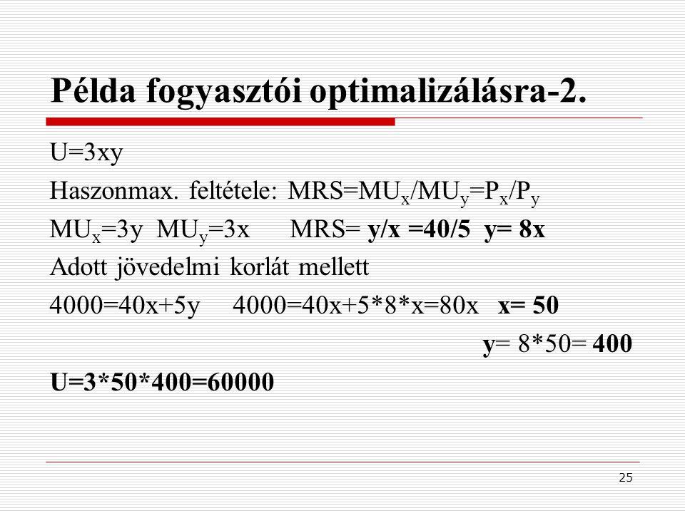 25 Példa fogyasztói optimalizálásra-2. U=3xy Haszonmax. feltétele: MRS=MU x /MU y =P x /P y MU x =3y MU y =3x MRS= y/x =40/5 y= 8x Adott jövedelmi kor