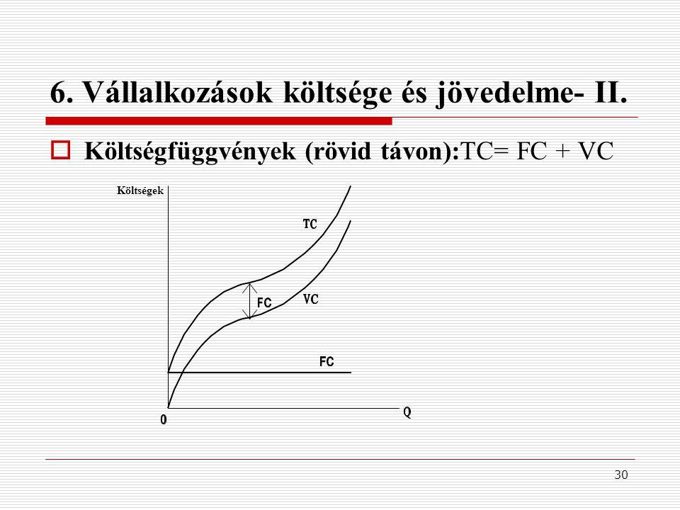 30 6. Vállalkozások költsége és jövedelme- II.  Költségfüggvények (rövid távon):TC= FC + VC Költségek