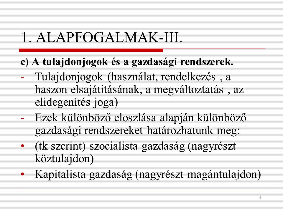4 1. ALAPFOGALMAK-III. c) A tulajdonjogok és a gazdasági rendszerek. -Tulajdonjogok (használat, rendelkezés, a haszon elsajátításának, a megváltoztatá