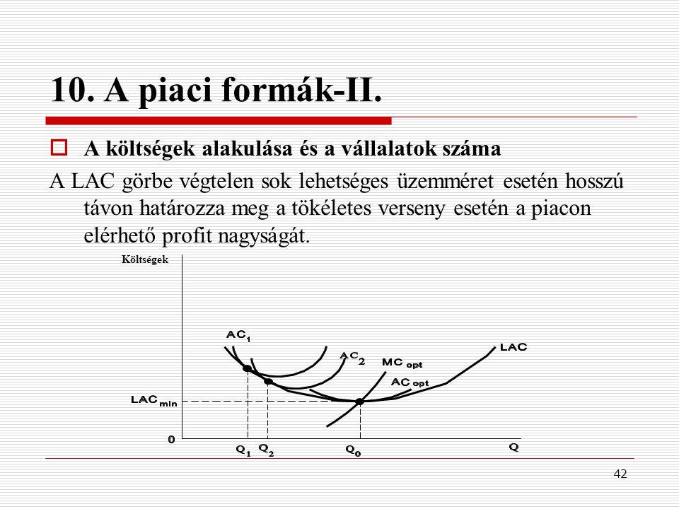 42 10. A piaci formák-II.  A költségek alakulása és a vállalatok száma A LAC görbe végtelen sok lehetséges üzemméret esetén hosszú távon határozza me