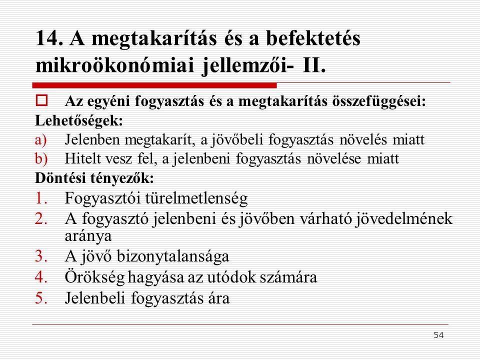 54 14.A megtakarítás és a befektetés mikroökonómiai jellemzői- II.