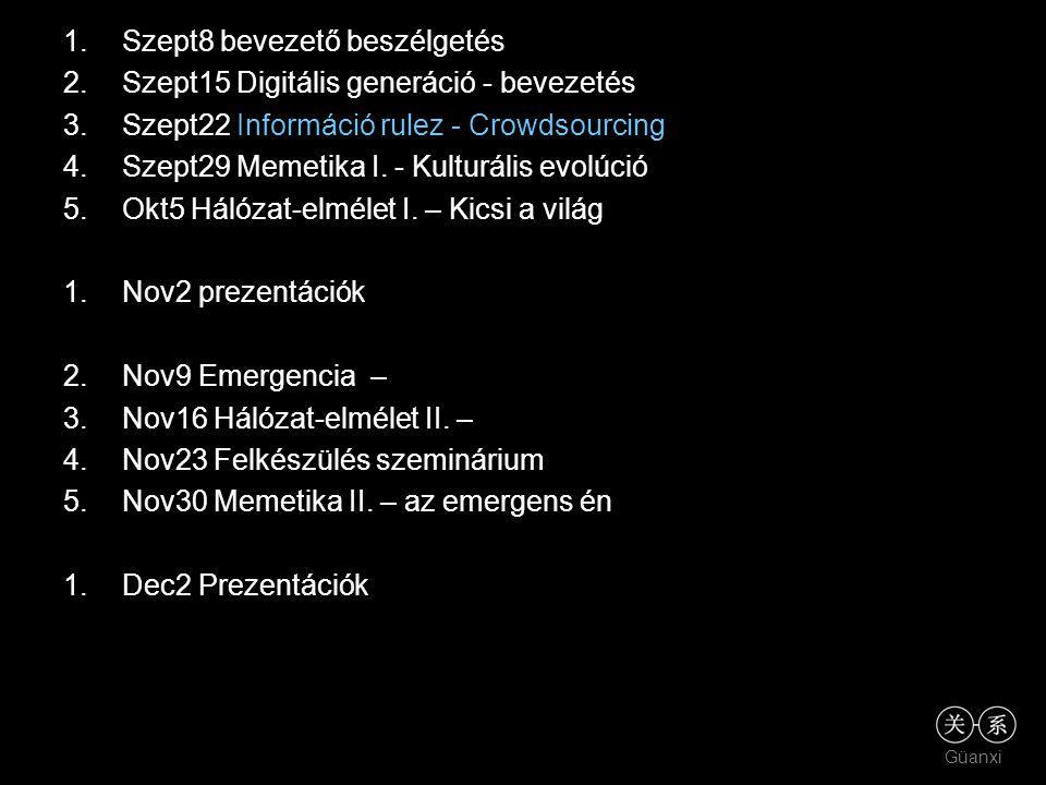 Güanxi 1.Szept8 bevezető beszélgetés 2.Szept15 Digitális generáció - bevezetés 3.Szept22 Információ rulez - Crowdsourcing 4.Szept29 Memetika I. - Kult