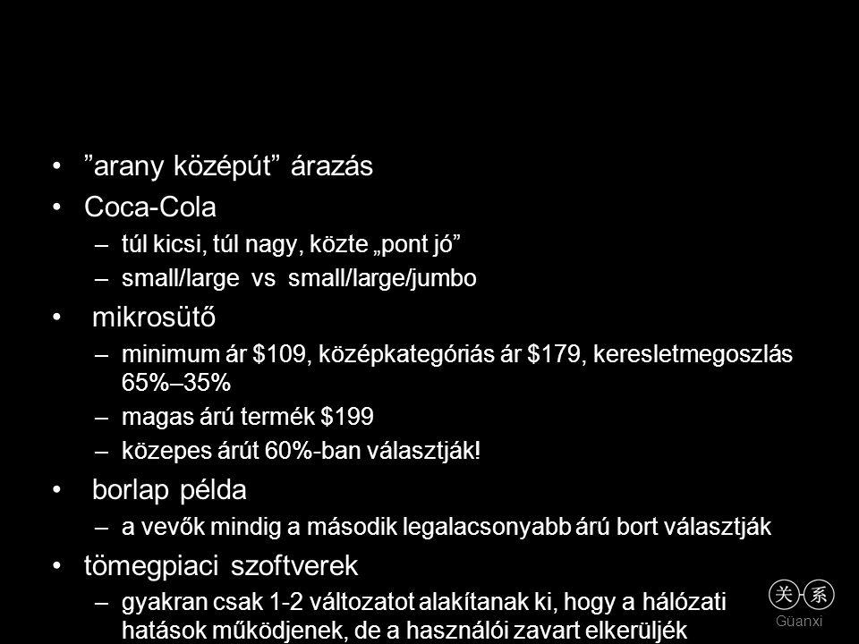 """Güanxi """"arany középút"""" árazás Coca-Cola –túl kicsi, túl nagy, közte """"pont jó"""" –small/large vs small/large/jumbo mikrosütő –minimum ár $109, középkateg"""